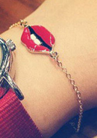 Fashion Cute Lovely Red Lip Tooth Love Lady Charm Bracelet Jewelry For Girls Charming Women New Arrival(China (Mainland))