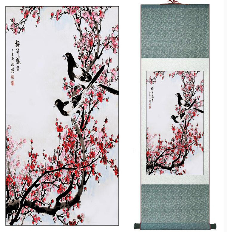 Free shipping Traditional Chinese Art Painting Home Office Decoration Chinese painting spring birds with plum blossom(China (Mainland))