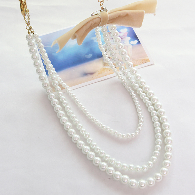 ! 2014 New Fashion multi-layer Design Pearl Ribbon Bead Chain Neon Statement Necklaces Women Jewelry Gift - Lenny Wang's store