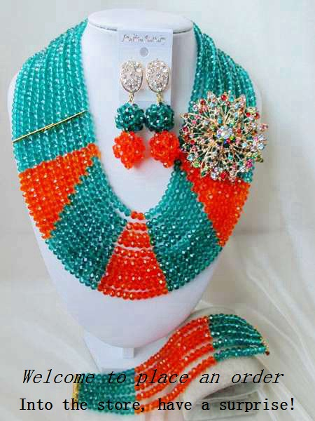 2015 Fashion african crystal beads necklace set nigerian wedding african beads jewelry set Free shipping P-3705<br><br>Aliexpress