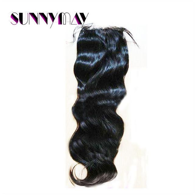 Sunnymay Hair 7A Grade Natural Wave Natural Black Color Brazilian Virgin Human Hair Top Lace Closure Hair Piece