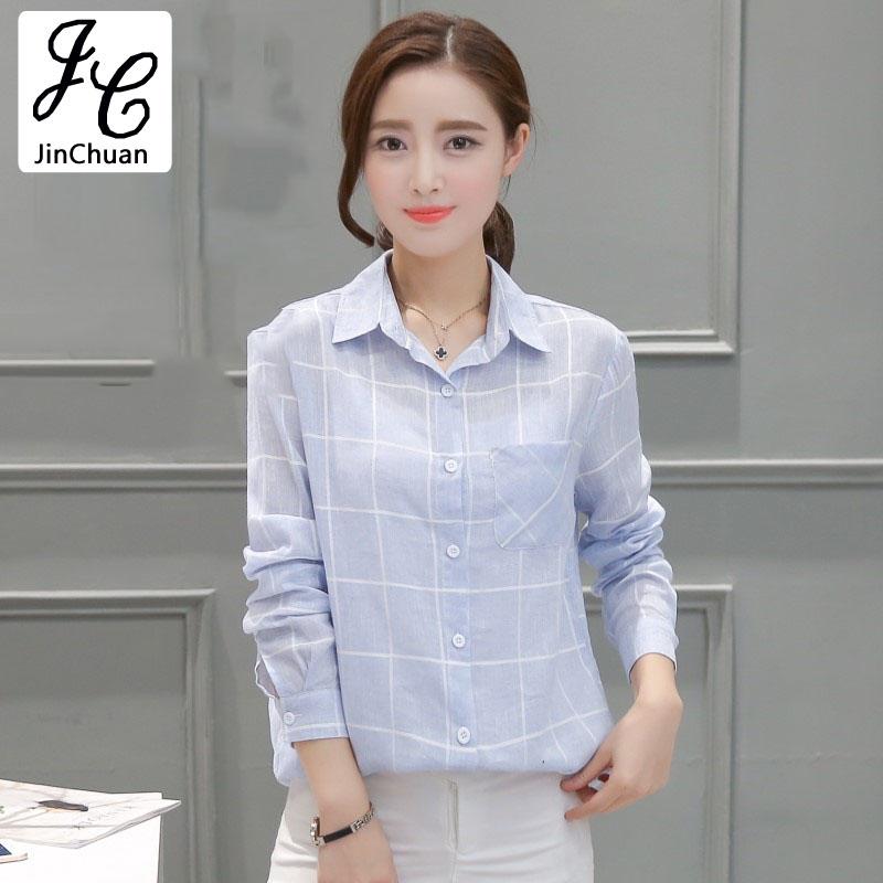 Remeras Mujer Casual 2017 Blue font b Tartan b font Blouse Women Plaid Shirt Top Women