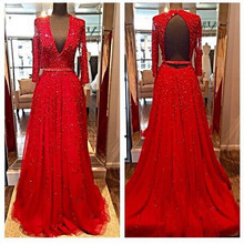 Elegant Red Evening Dresses 2016 V neck Backless Prom Gown vestido de festa Cheap Pageant Gown Party Dress Robe de Soiree(China (Mainland))
