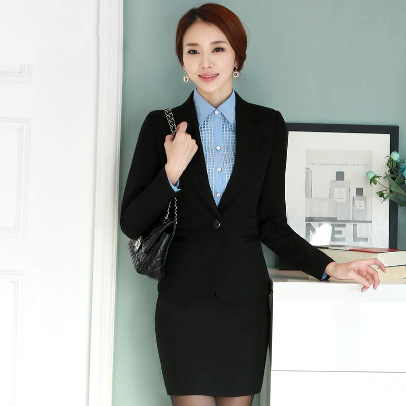 Women's professional suite 2016 spring / autumn high-end white-collar OL career suits ladies overalls (jacket / skirt / pants)(China (Mainland))