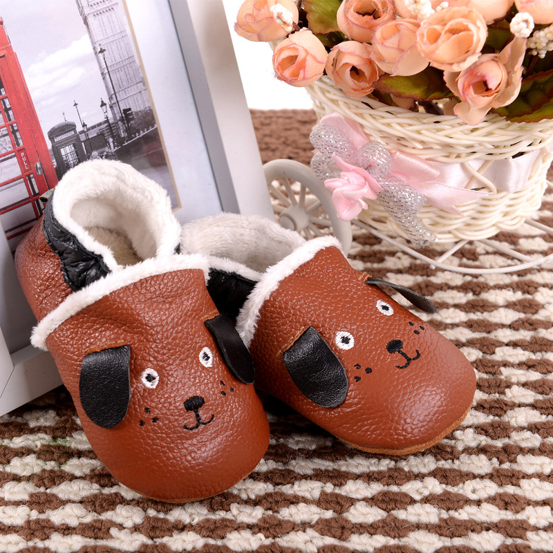 New winter warm boots Genuine Leather Baby Moccasins Shoes dog style Toddler Baby Boy Shoes Newborn Infant Shoes Pre-walkers(China (Mainland))