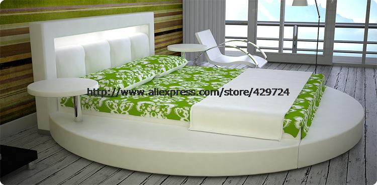 Modern Designer Bed, Top Grain Leather, Large King Size Genuine Leather Bed with 2 small side table, Round Bed C377(China (Mainland))