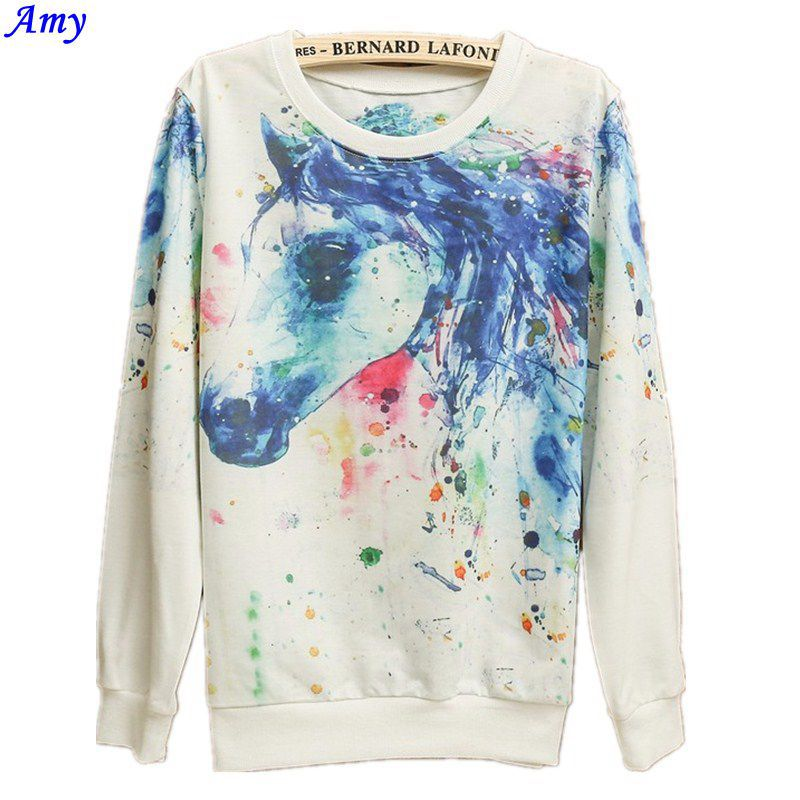 [ эми ] верхний дизайн большой полёт лошадь принт свободного покроя толстовка женщины в толстовки с капюшоном кофты хлопок пуловеры 21 цвет