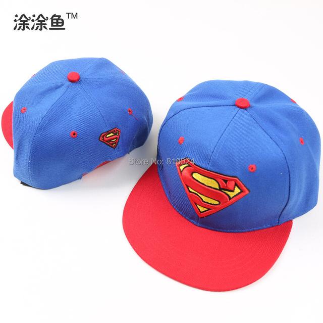 Бейсболки 2015 корейских розничная дети шляпы и шапки хип-хоп стиль вышивки супермен хлопок крышки мальчики девочки фуражке