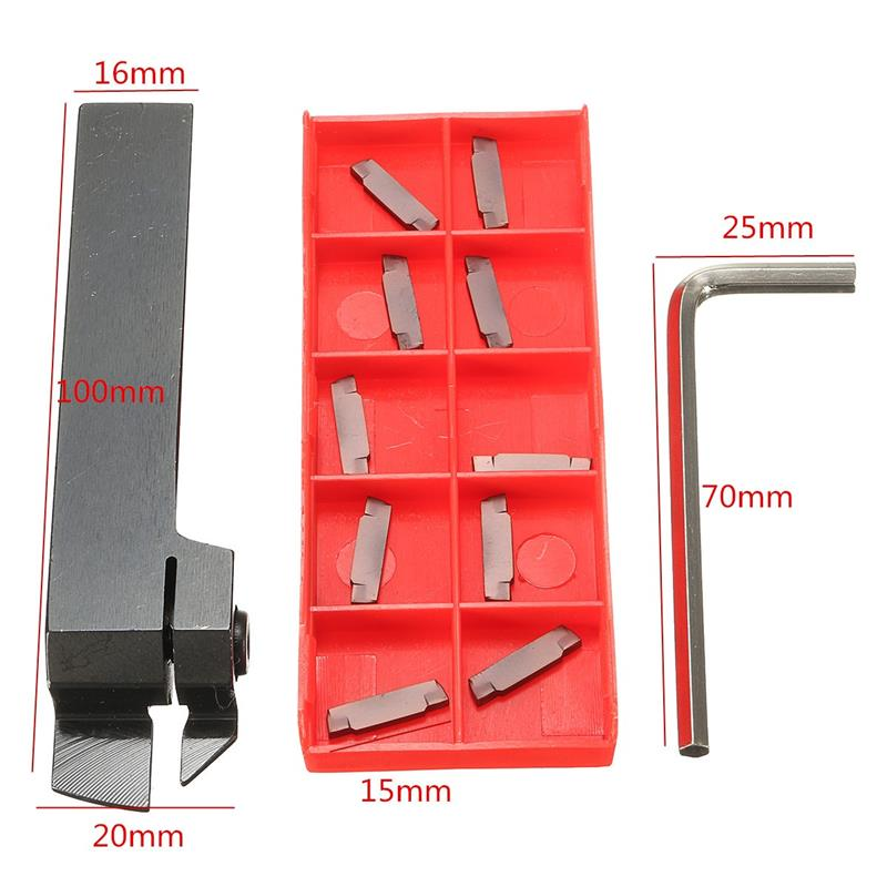 16mm MGEHR1616-2 Grooving Lathe Holder + 10Pcs 2MM Carbide Inserts Lathe Tools New Arrival