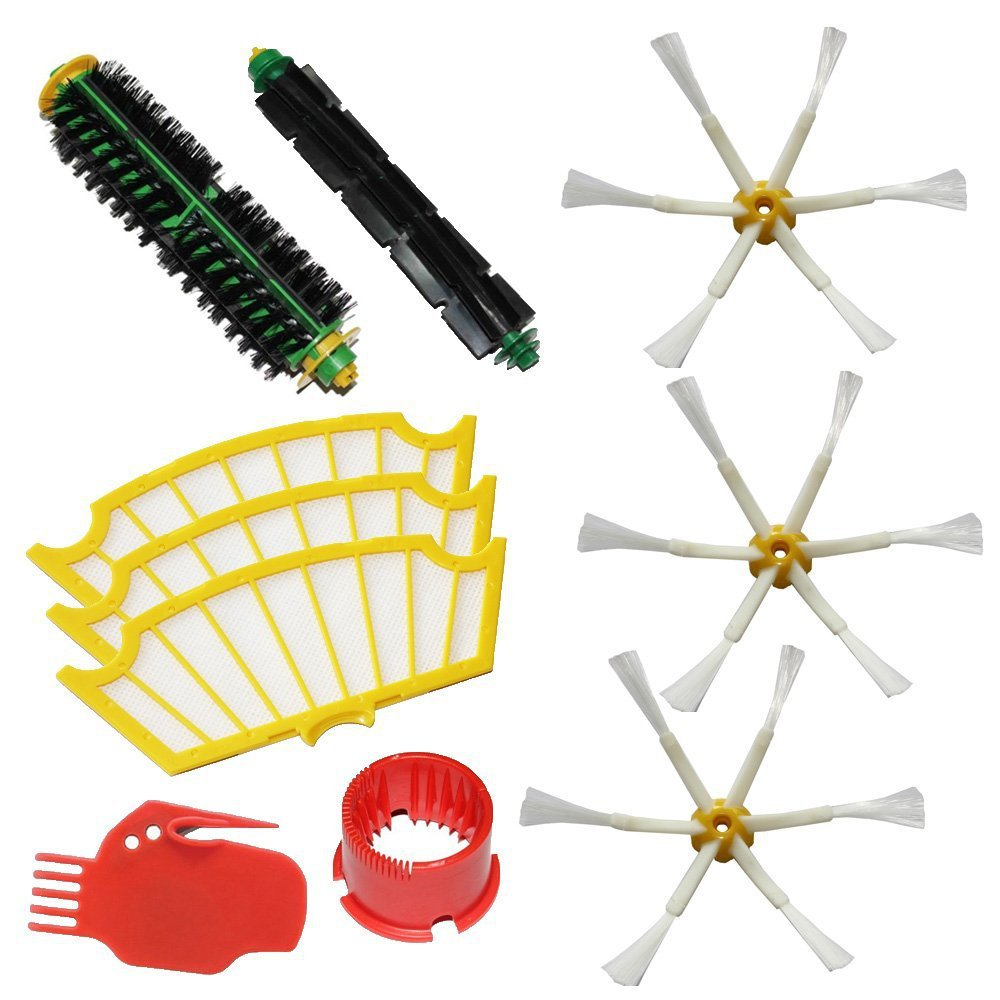 (10 pcs/lot) Brush Kit For iRobot Roomba 500 530 560 510 550 570 580 610 Vacuum Robots all Green, Red, Black cleaning head(China (Mainland))
