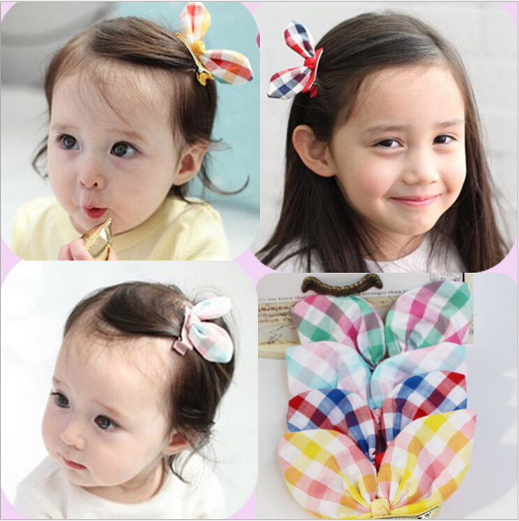 1 pcs 4 colors New 2014 Handmade Plaid Rabbit Ear Kids Accessories Children Accessories Baby Girl Hair Clip(China (Mainland))