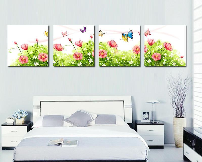 3 pe a wall art image belle fleur et papillon sur le mur de toile peinture moderne photos. Black Bedroom Furniture Sets. Home Design Ideas