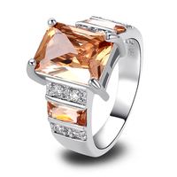 Wholesale Charming Delicate Emerald Cut Morganite 925 Silver Ring Size 7 8 9 10 New Fashion