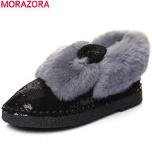 MORAZORA 2017 nuevo de alta calidad de piel de conejo auténtica invierno botines brillo punta redonda plana botas de nieve del invierno zapatos de las mujeres(China (Mainland))