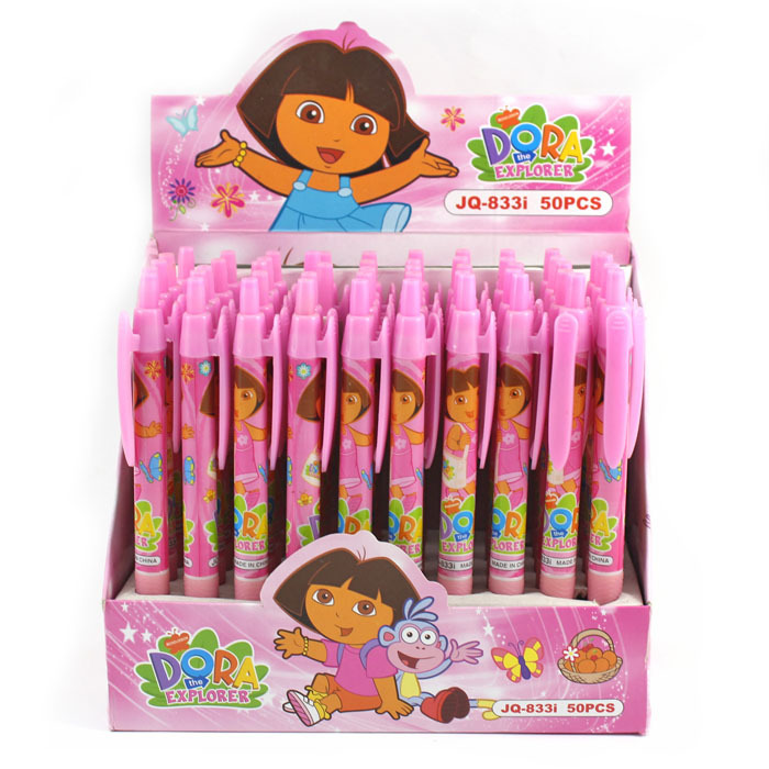 Free shipping HOT cartoon duo pen girl pressed DORA promotional ballpoint pen stationery wholesale 0.5mm nib 833<br><br>Aliexpress
