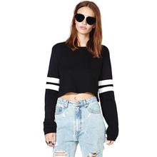 New Fashion Harajuku Women Crop Tops PU Leather Patchwork Long Sleeve O Neck Casual Loose Pullover Sweatshirt Black/White(China (Mainland))