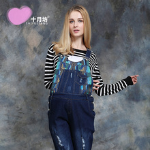 October Fang Bib size abdominal pants maternity jeans trousers and casual pants(China (Mainland))