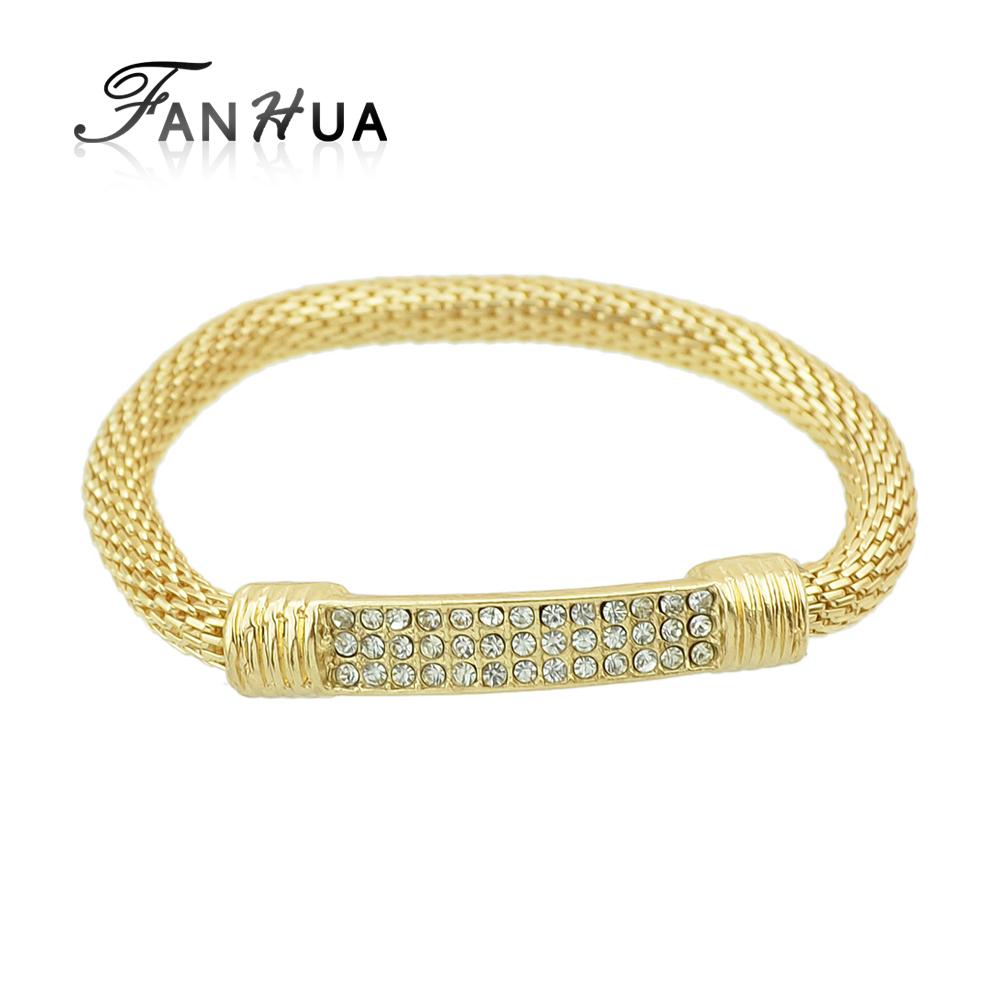 FANHUA Gold Color bracelets Pulseras Rock Multicolor Rhinestone Elastic Chain bracelets For Women and Men(China (Mainland))