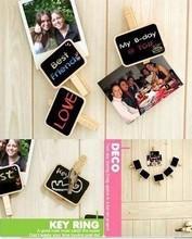 100pcs/lot Lovely wooden Super Mini Clip blackboard & message board(China (Mainland))