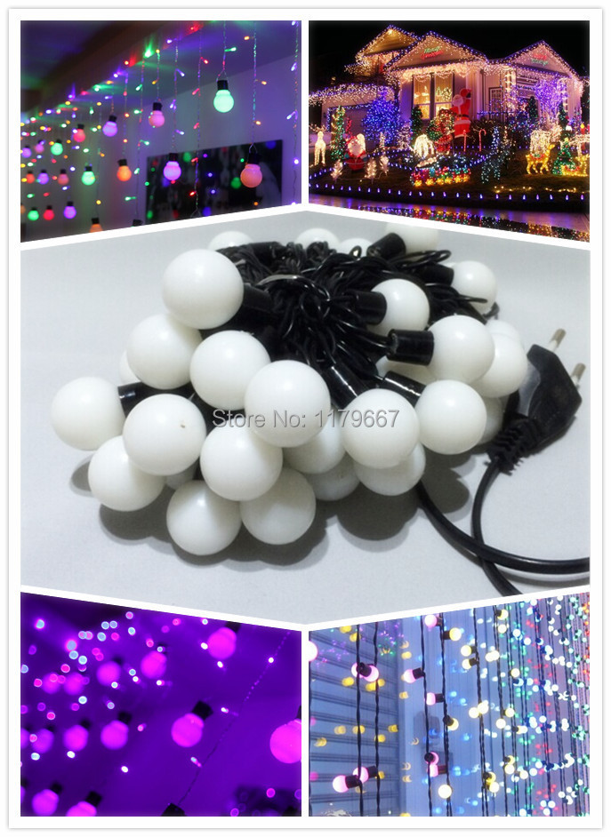 10w AC220V 15m EU/US plugLED Christmas Ball String Lights Outdoor LED Bulb Lamp in Christmas Party Wedding Garden(China (Mainland))