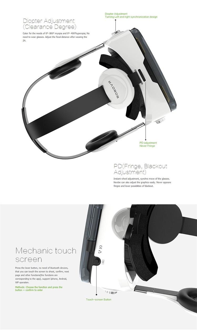 ถูก 2016ใหม่ล่าสุดเดิมBOBOVR Z4แว่นตา3D VRชุดหูฟังความเป็นจริงเสมือน3Dวิดีโอเกมส่วนตัวโรงละครที่มีหูฟัง+ควบคุม