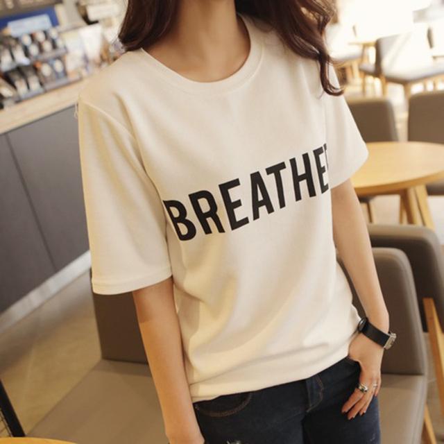 2016 женщин летняя футболка одежда о-образным шеи классические письма печатаются с простой дна топы бесплатная доставка