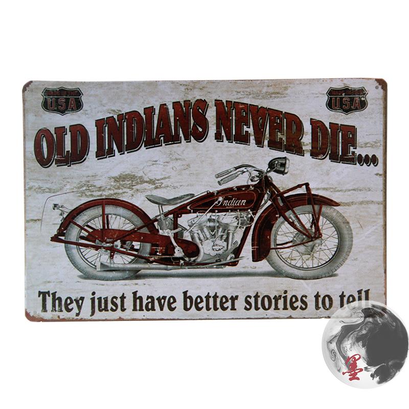 affiches anciennes ou pubs indian Le-vieux-indiens-die-jamais-peinture-Tin-signes-Bar-pub-chez-décorations-pour-les-murs-Retro