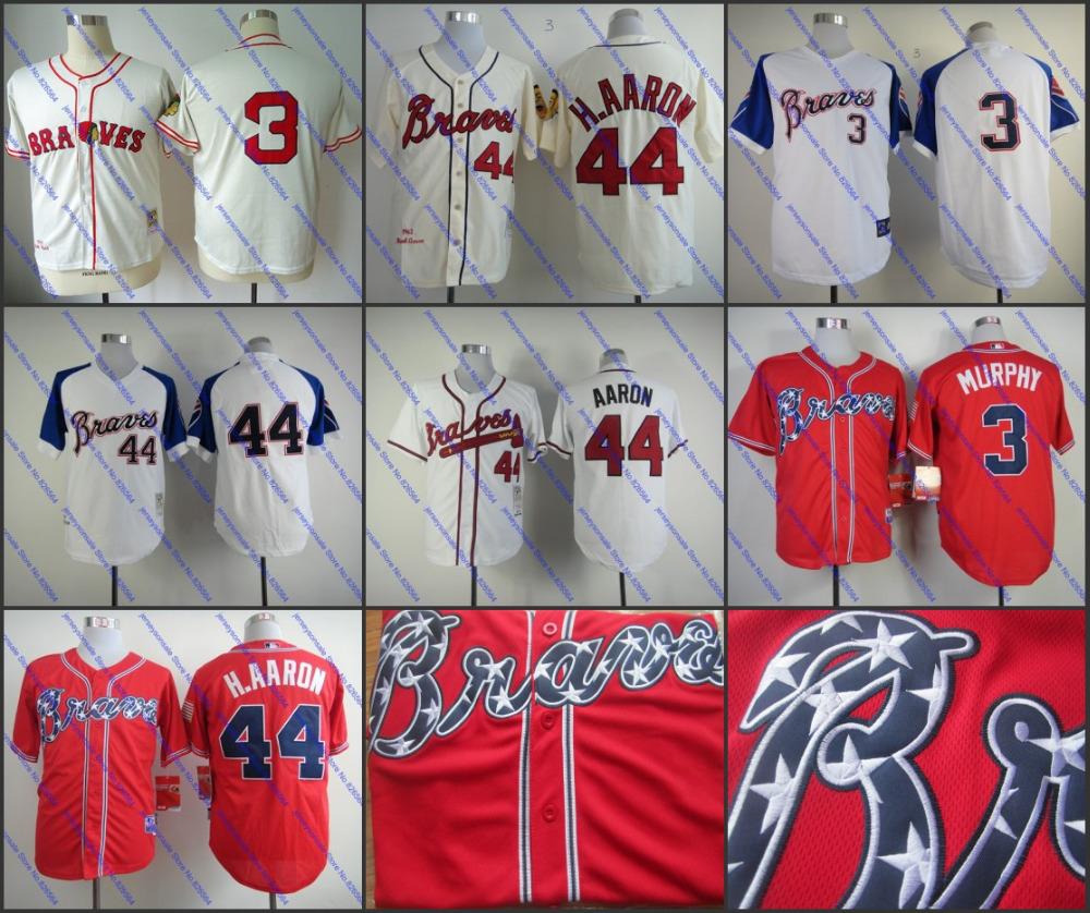 Authentic Atlanta Braves Jersey Throwback #44 Hank Aaron Jersey #3 Babe Ruth Dale Murphy Shirt 1974 Cooperstown Baseball Jerseys(China (Mainland))