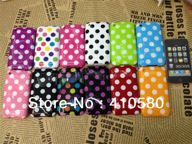 New Arrival 100pcs/lot Polka Dot Soft TPU Case Cover For iphone 3G/3GS(China (Mainland))