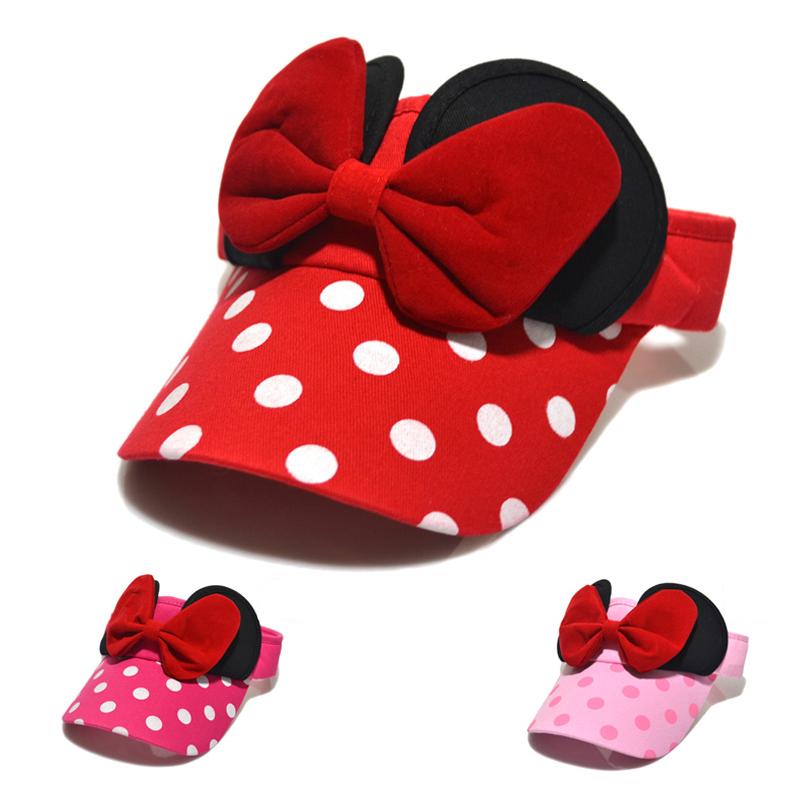 Children Summer Sun Visor Girls Beach Hats for Kids Toddler Baby Outdoor Sports Cap Bowknot Dot Cute Fashion Lovely Red Pink(China (Mainland))