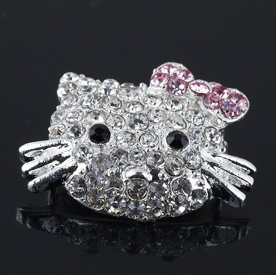 Silver plated Mix Crystal Rhinestone Hello Kitty Connectors Charm Beads For Side Ways Bracelet Diy Jewelry Findings