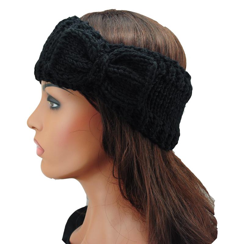 women's Knit Bow Headband Lady Crochet Handmade Hairband Winter Ear Warmer Headwrap Hair Accessories(China (Mainland))