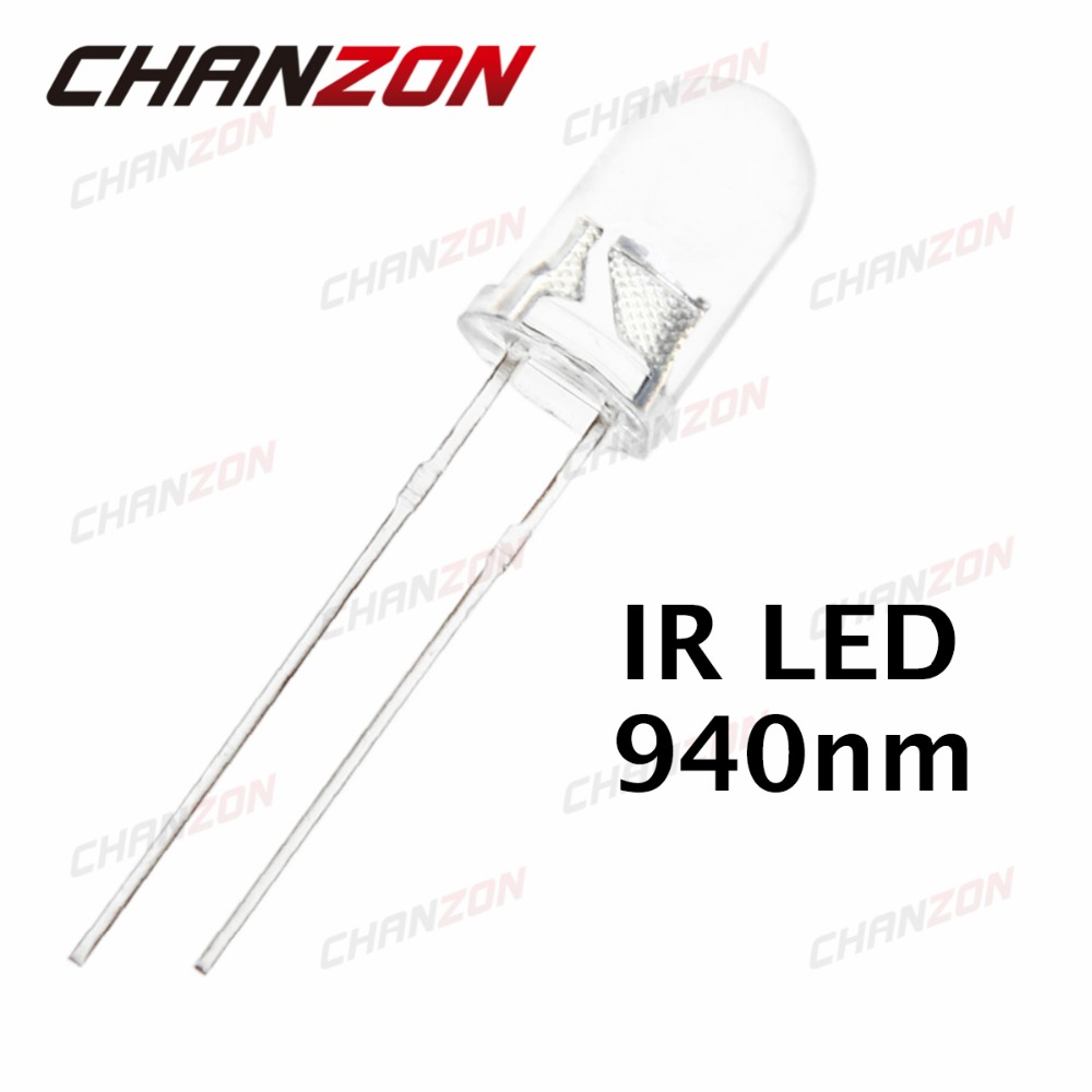 100pcs 5mm Infrared IR LED 940nm Light Emitting Diode Lamp 20mA 1.45-1.65V 5 mm Transparent Water Clear Lens Through Hole 940 nm(China (Mainland))