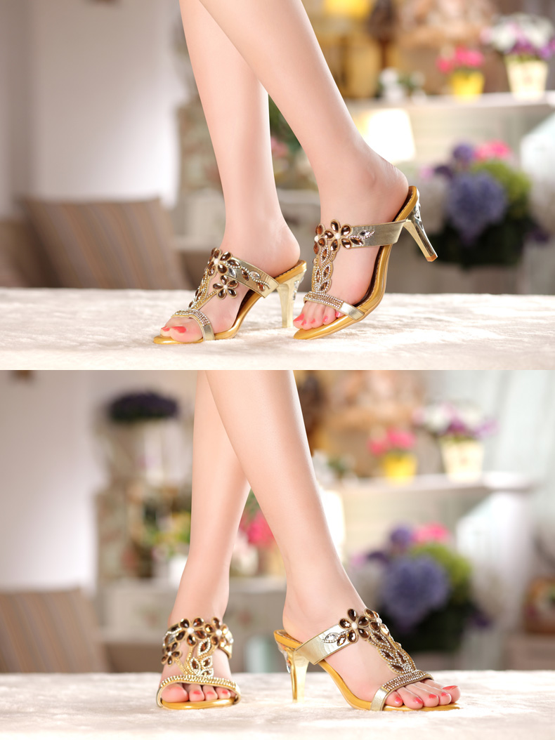 Rhinestone High Heel Sandals Plus Size 40 41 Summer 2016 Sexy Leather Diamond Fashion Slippers Female Rome Slides Shoes Women