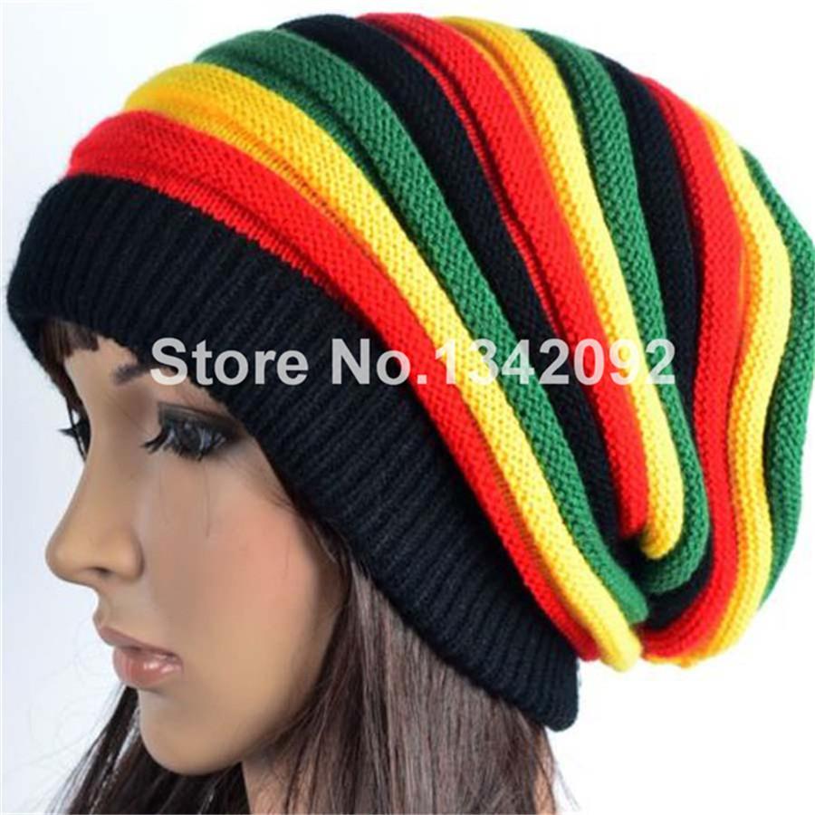 Knitting Pattern Rastafarian Beanie : Aliexpress.com : Buy Fashion Knitted Jamaica Cap Rasta Reggae Beanie Gorro Mu...