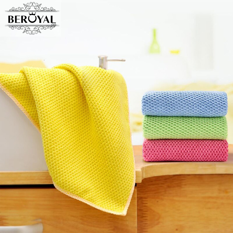 Beroyal 2016 NEW Kitchen Towel-- 4PC/lot 35*35CM Microfiber Cleaning Cloth Household Dishcloth/pano de prato 130034(China (Mainland))