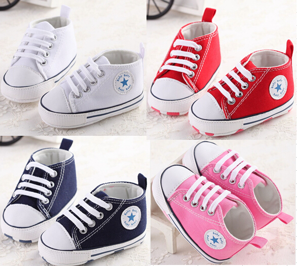 1 Pairs baby shoes Brand Newborn baby Girls shoes Boys Kids Sports Sneakers Infant Sapatos Newborn Prewalker Canvas Shoes