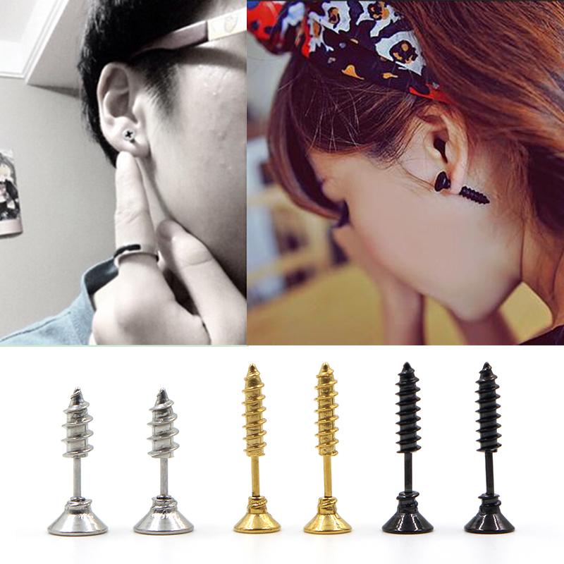 1pc Men Women Classic Stud Earrings Hot Sale Unisex Fine Stainless Steel Whole Screw Earrings Silver Gold Black(China (Mainland))
