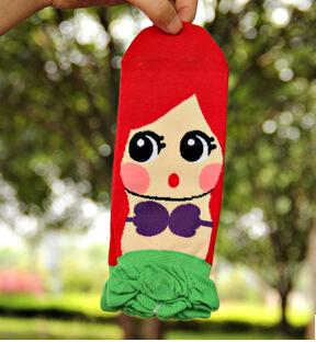 3D Cartoon Princess Character Ladies Socks Women Cotton Boat Socks 200 Needles Breathable Stealth Antibacterial Sweat Deodorant(China (Mainland))