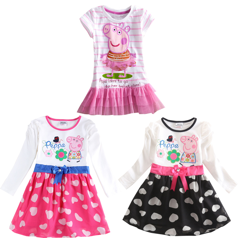 children wearing vestido clothing mini pink pepa pig princess short sleeve dress(China (Mainland))
