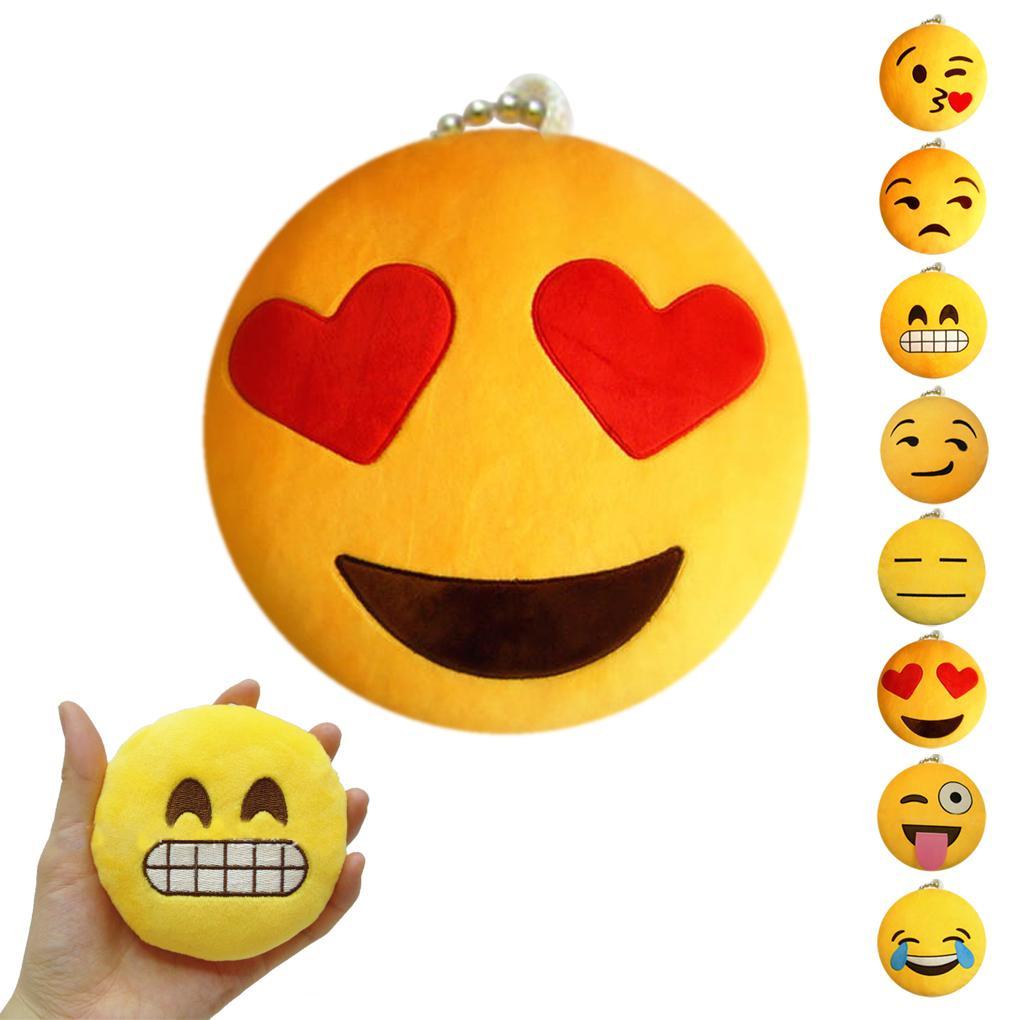 Soft Emoji Smiley Emoticon Yellow Round Stuffed Plush Toy Doll Ornaments Strap Pendant 8 styles hot sale(China (Mainland))