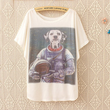Harajuku Fashion Loose Summer Style t shirt Women 2016 New Aerospace Cute Dog Print Casual Women Tops Tees Fashion T-Shirt