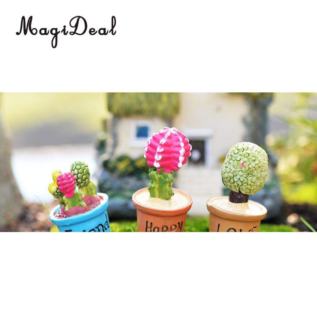 1:12 Scale Micro Landscape Dollhouse Miniature 7 Pots Succulent Green Plants Garden Decoration for Dolls House Desk Yard Accs