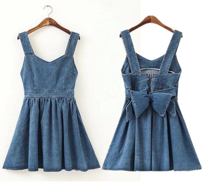 product new fashion adventure time cute Back big bow vest kawaii girl dress women casual denim dresses american apparel vestido informal