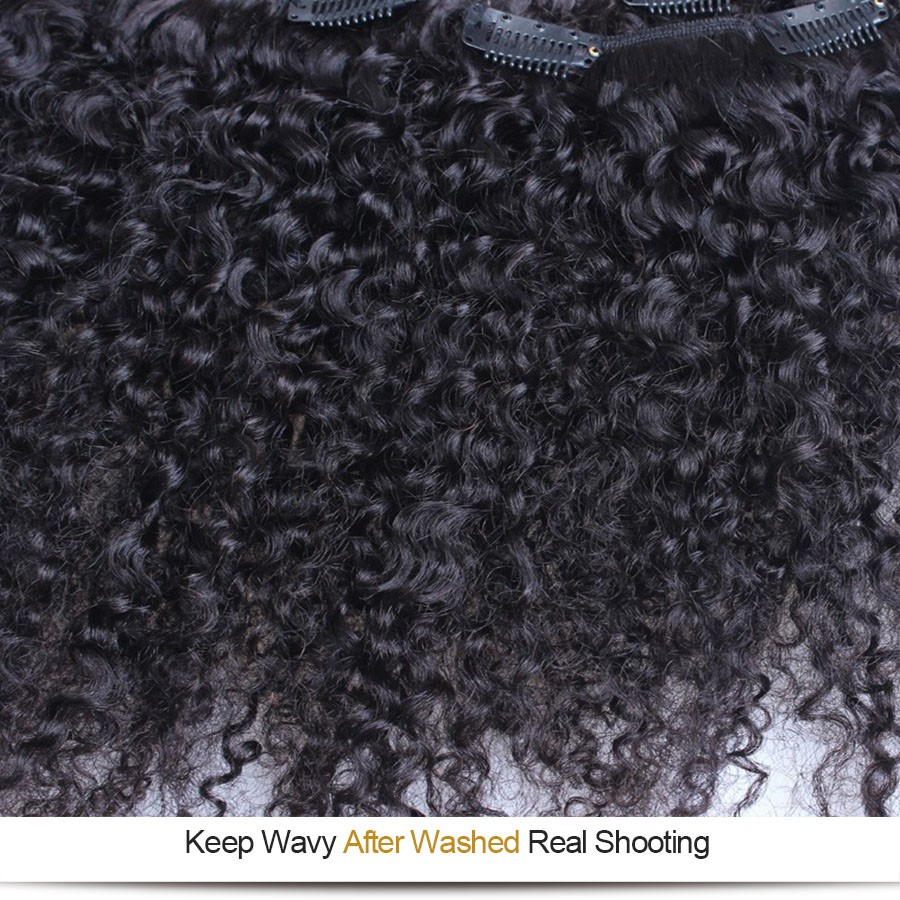 Curly Clip In Human Hair Extensions 7Pc Natural Brazilian 8A African American 3B 3C Kinky Curly Clip In Hair Extensions Clip Ins