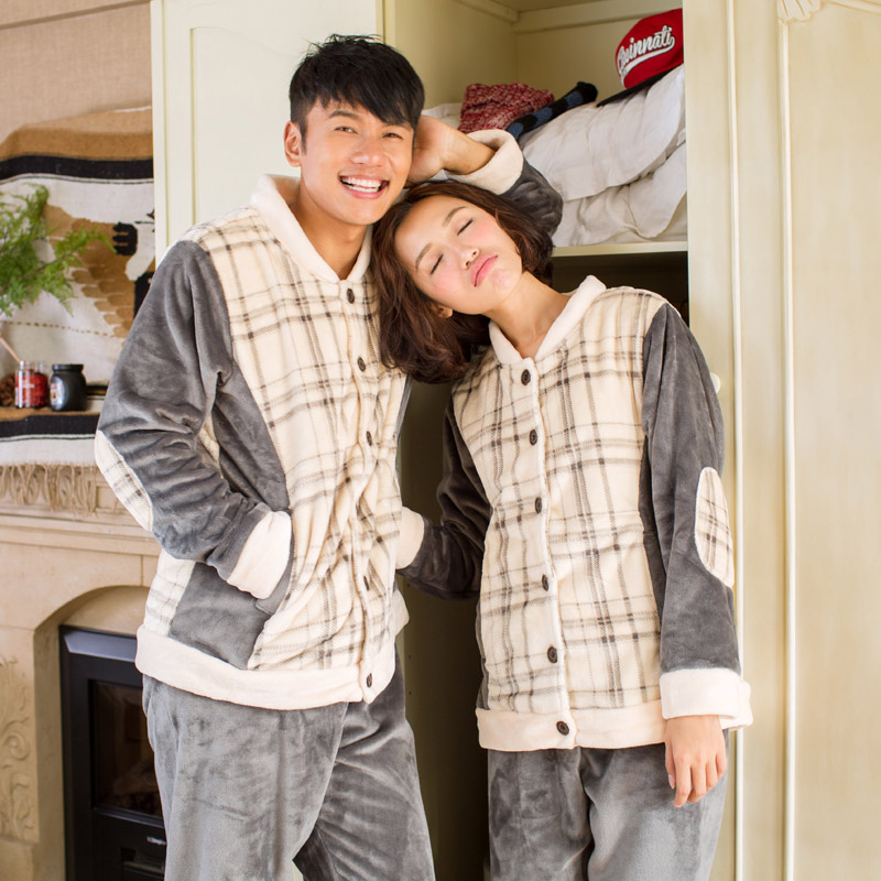 Song Riel autumn and winter flannel pajamas for men and women casual couple cute plaid suit