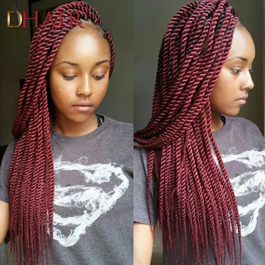 22Inch 2X Box Braids Crochet Braids Synthetic Hair Extensions Top ...