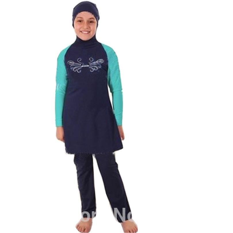 5XL-S Best Fashion Young Girls Muslim Swimwear Junior Girls Swimsuit Islamic Clothing For Children Kids Beachwear Bathing Suit(China (Mainland))
