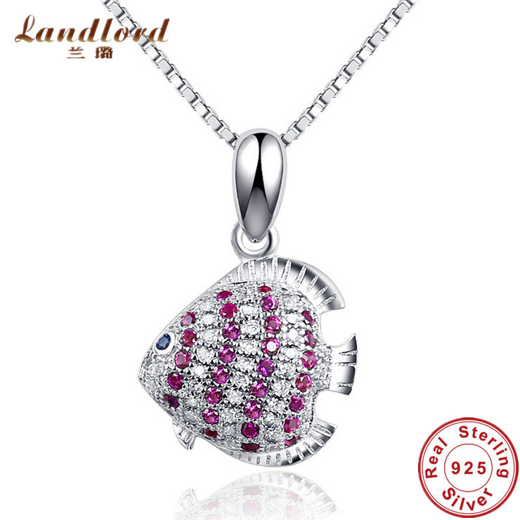 Real 925 Sterling Silver Pendant Fit For Necklace Luxury Red Corundum Tropical Fish Design Pendant For Women Fine Jewelry CP0135(China (Mainland))