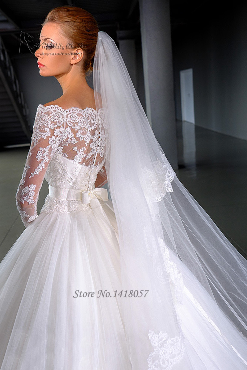 Gown set picture more detailed picture about 2016 design for White long sleeve lace wedding dress